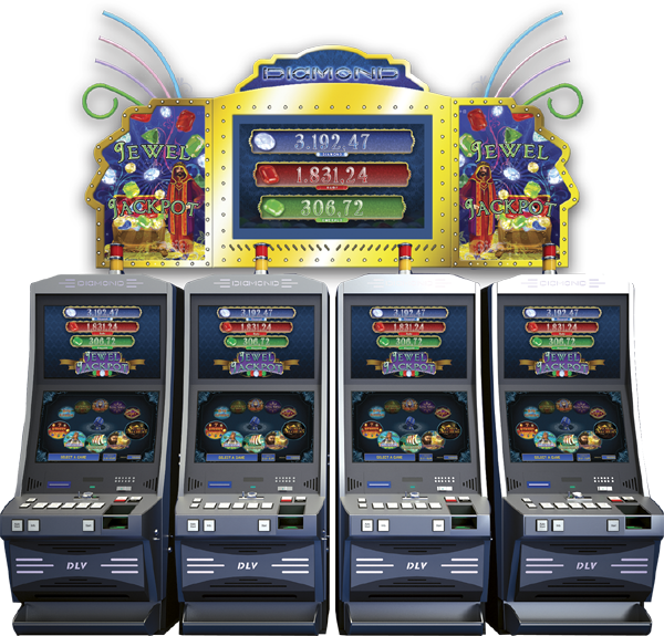 Jewel Jackpot with machines and sign